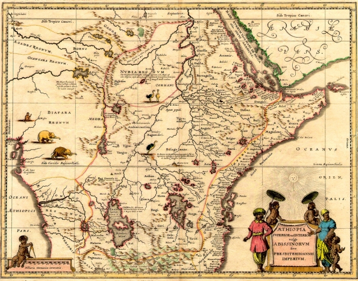 Map of Ethiopia during colonial era. Scan of 2 d images in public domain believed to be free to use without restriction in the US.